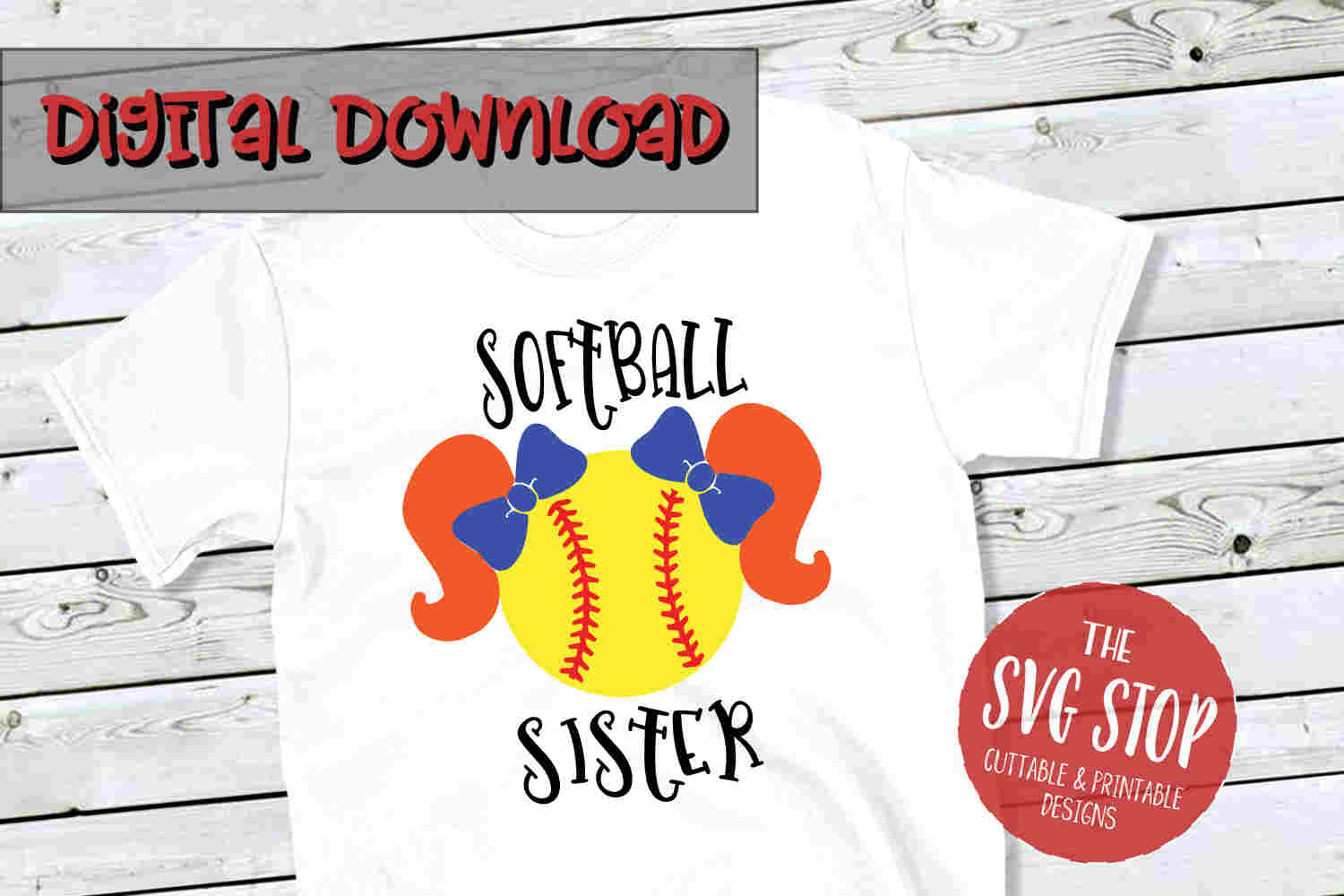 Softball Sister 4-SVG, PNG, DXF example image 1