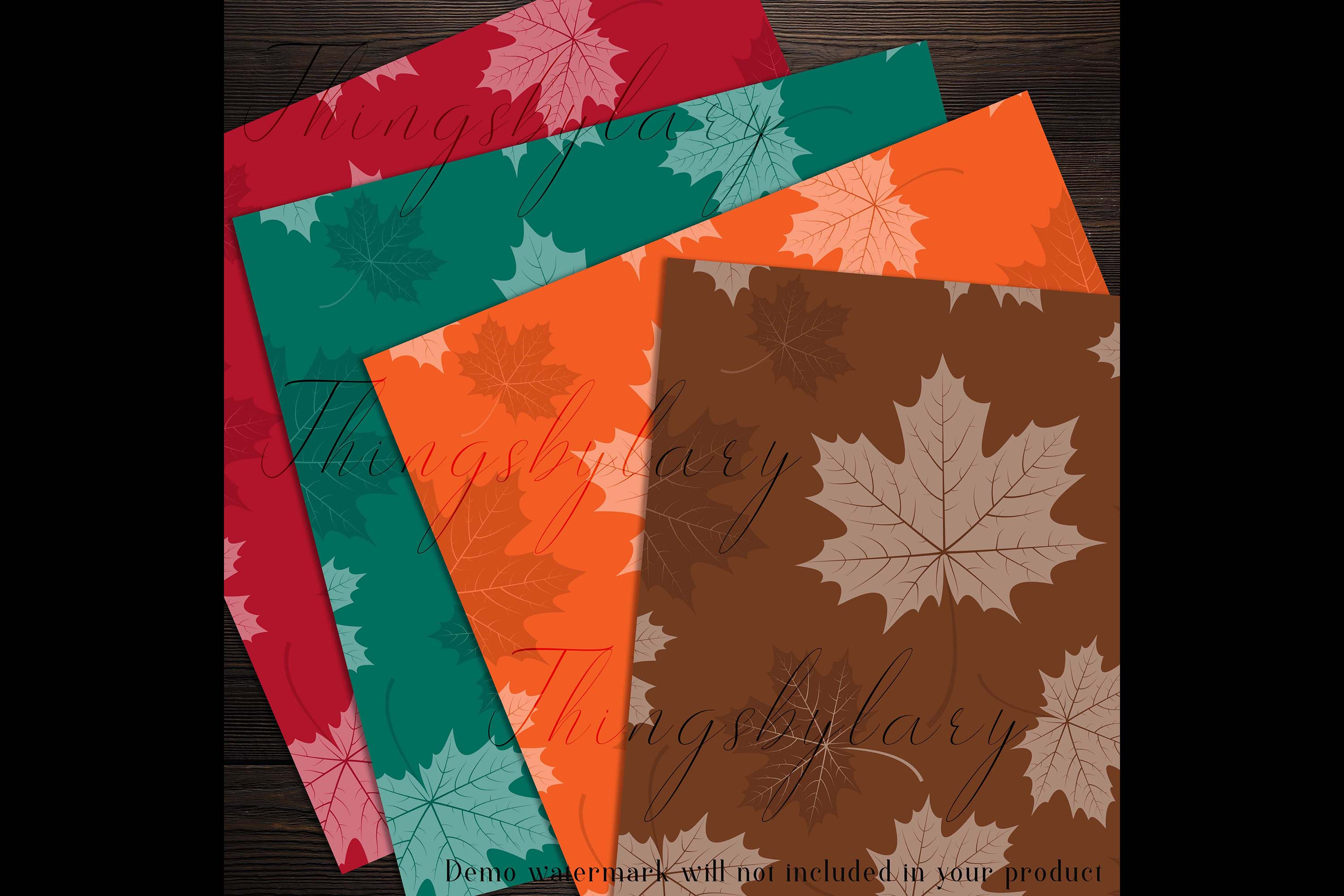 100 Seamless Tinted Autumn Leaves Pattern Digital Papers example image 7