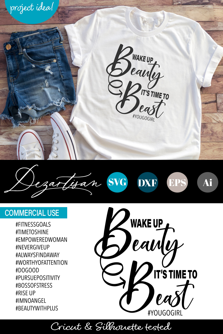 Wake up Beauty it's time to beast SVG example image 2