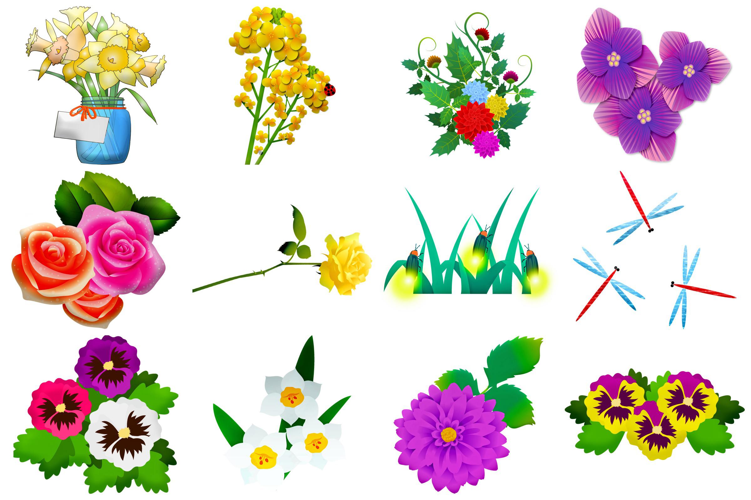 Summer Florals & Elements Clip Art example image 2