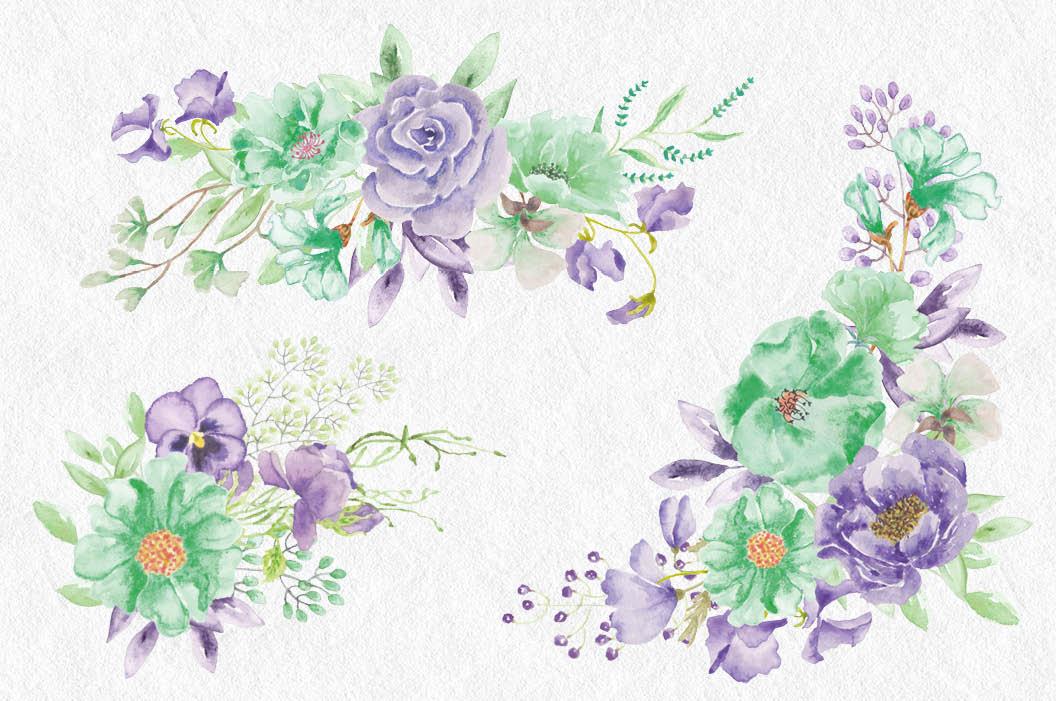 'Violet and Mint': watercolor clip art bundle example image 5