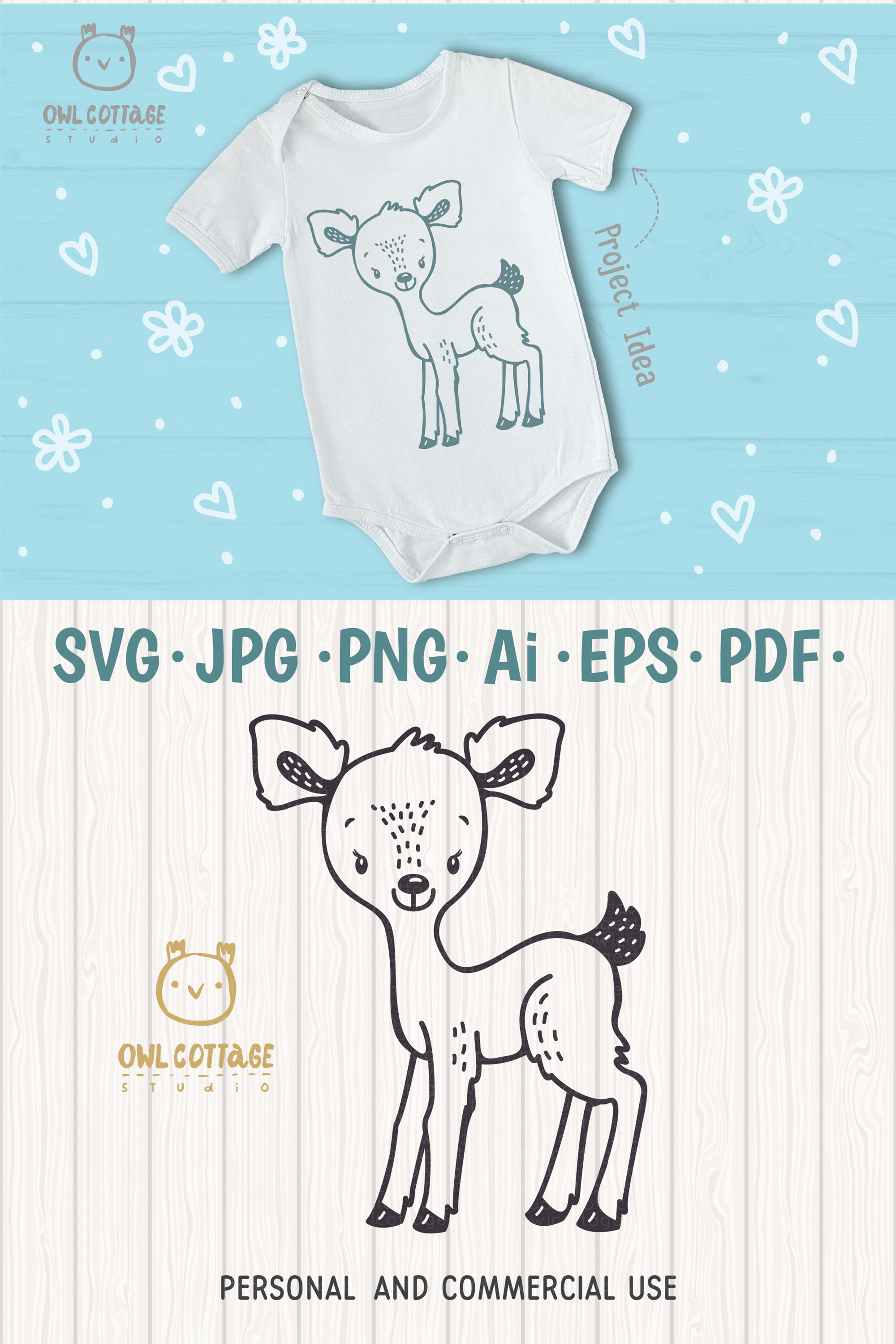 Baby Deer with Flowers Crown Svg , Favn Cut File example image 8
