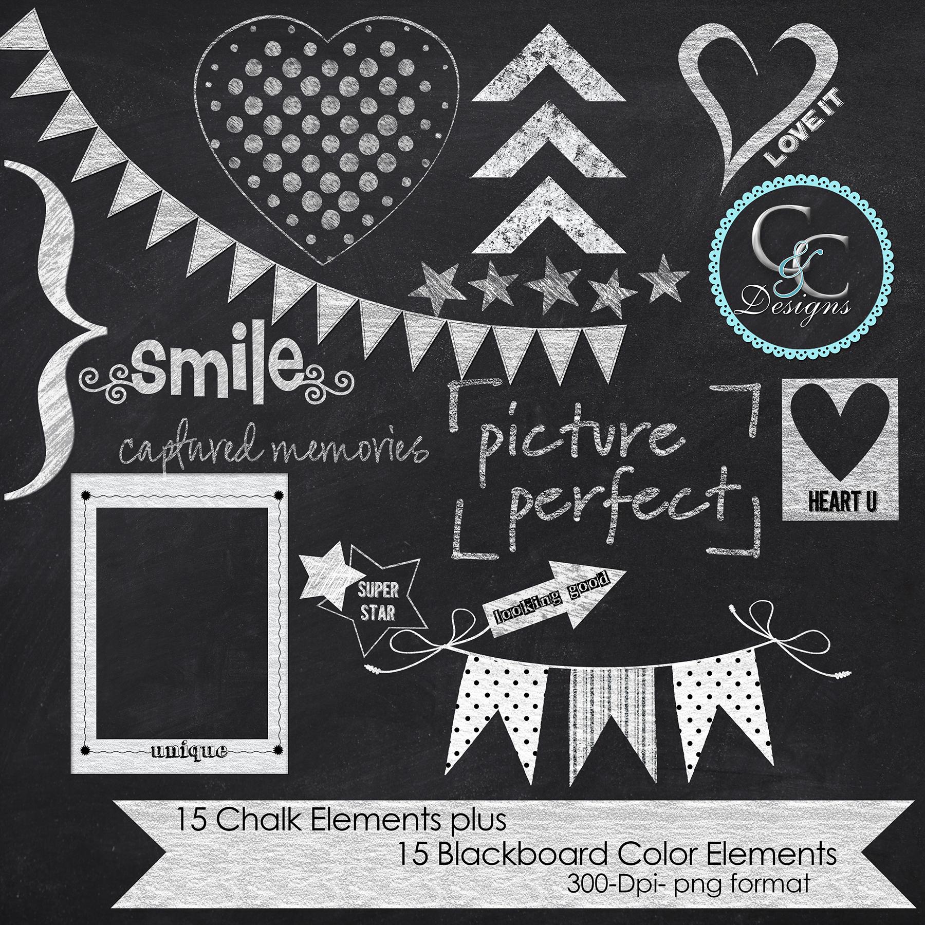 30 chalkboard elements clip art pack 1 design bundles
