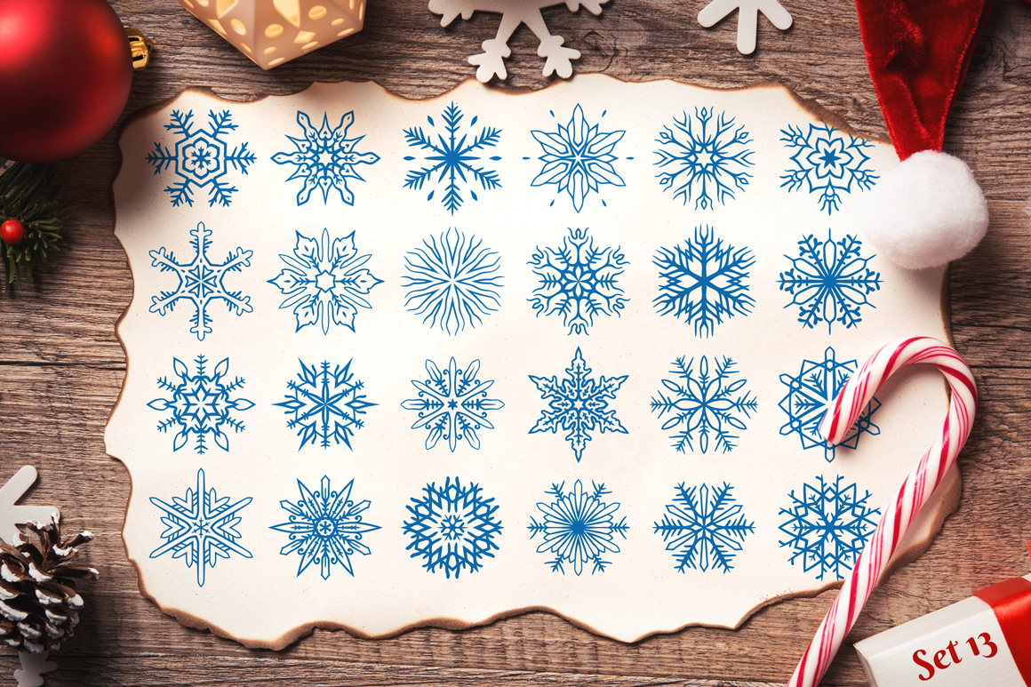500 Snowflake Vector Ornaments example image 21