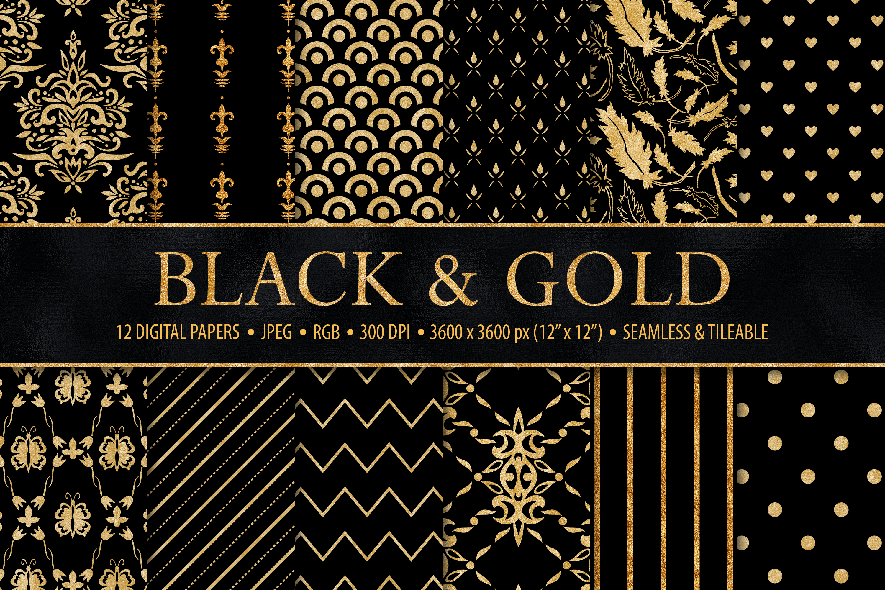 Black and Gold Seamless Papers - Damask & Geometric Patterns example image 1