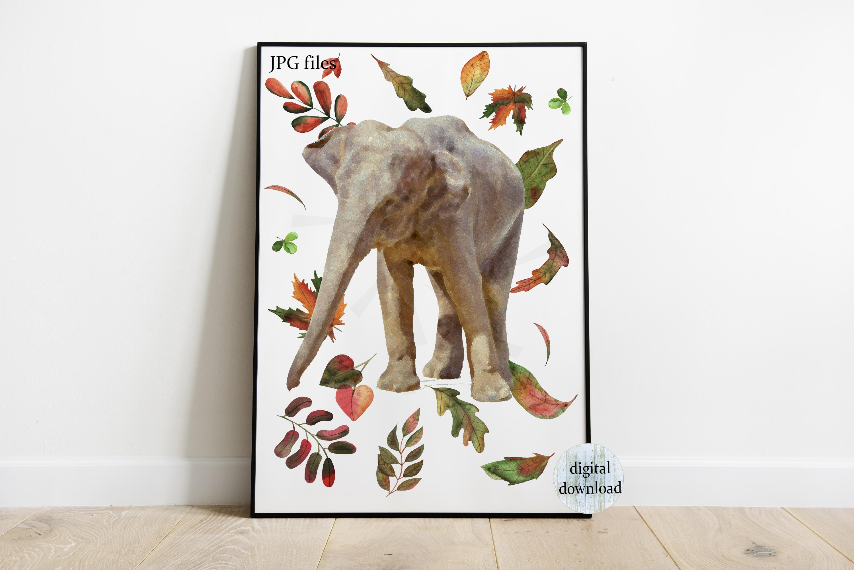 Fall elephant printable files, Elephant nursery poster, example image 2