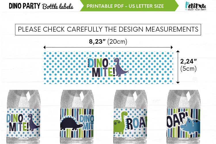 Dino party bottle labels, printable PDF, dino Birthday party example image 3