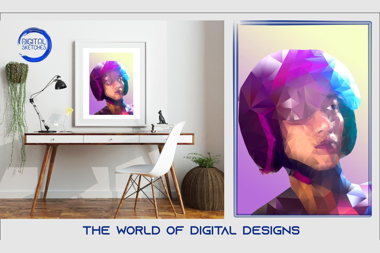 Printable Women Helmet Illustration Wall Art, .PDF Print Pos example image 1