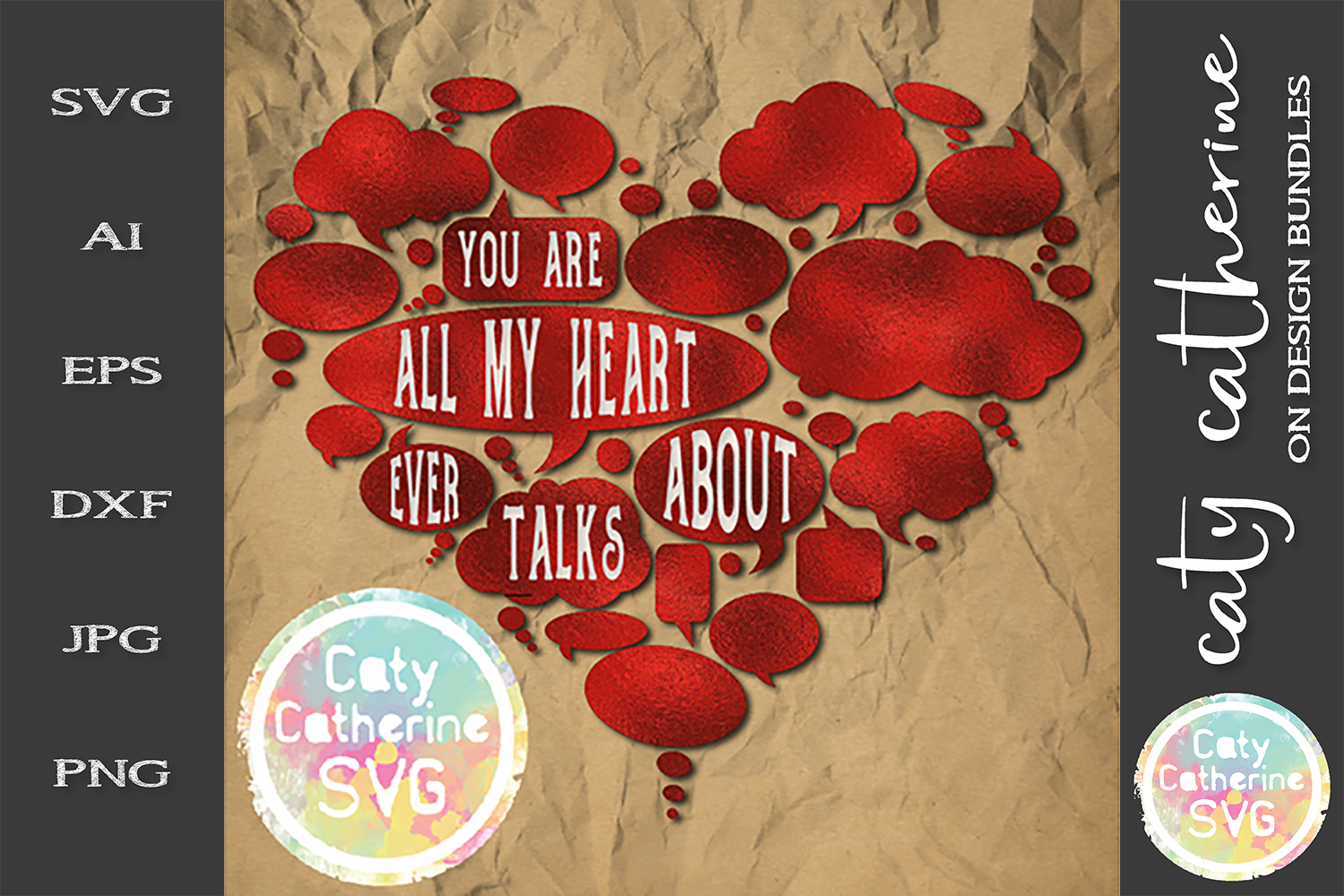 You Are All My Heart Ever Talks About SVG Cut File example image 1