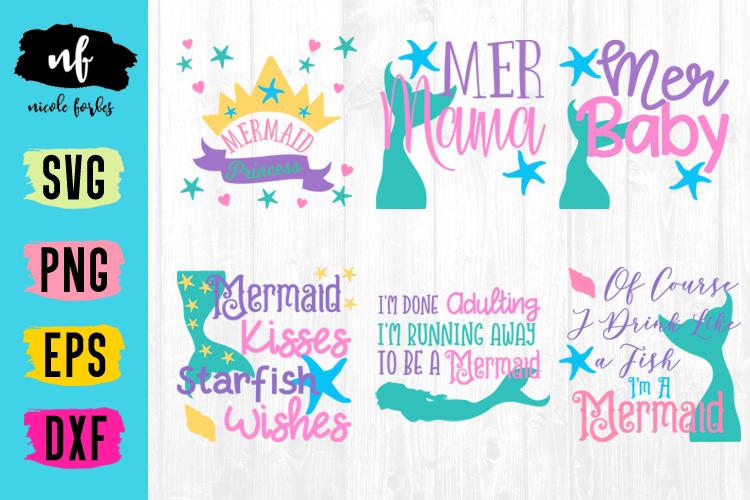 Mermaid SVG Cut File Bundle example image 1