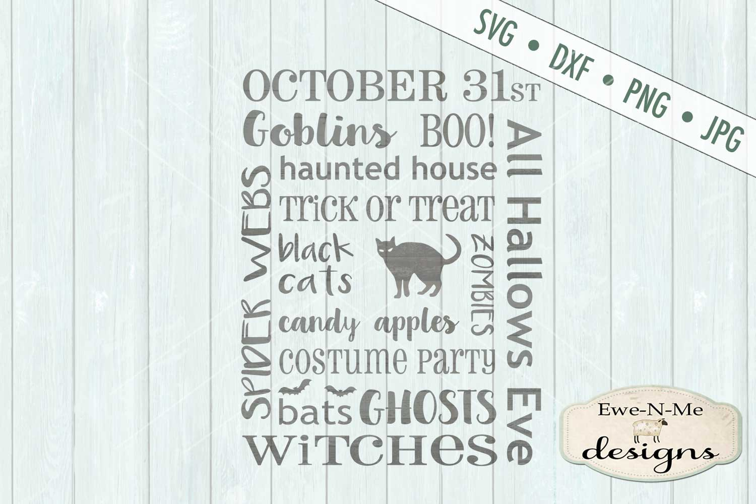 Halloween Subway Design Ghost Goblin Black Cat SVG DXF Files example image 2