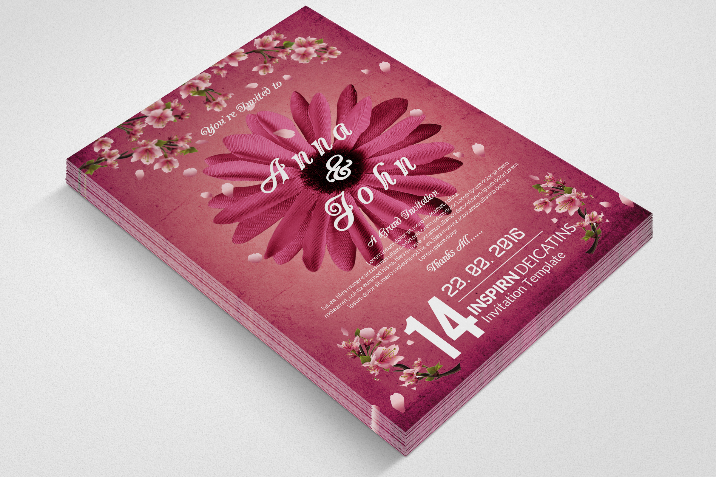 Floral Wedding Invitaion Flyer example image 2