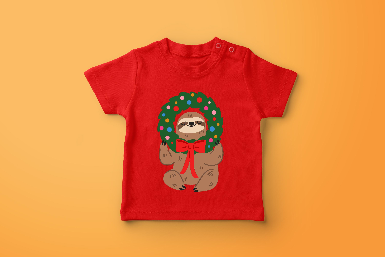 Christmas Sloths Vector Art example image 4