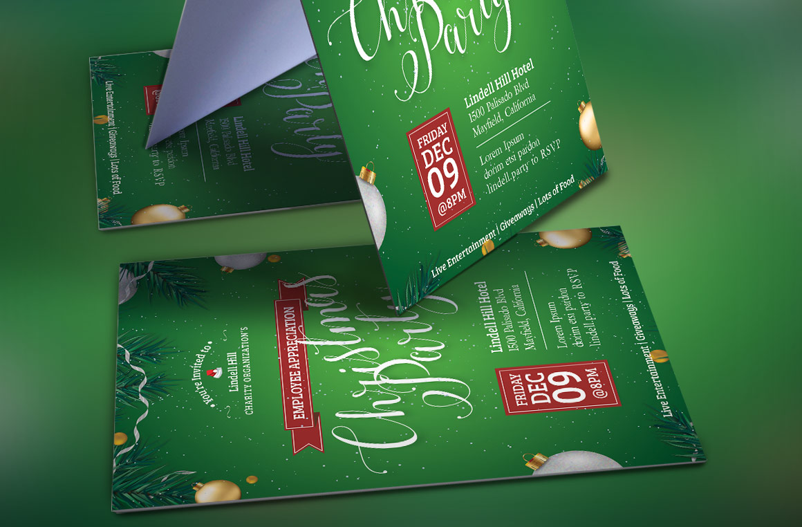 Green Christmas Party Flyer Template example image 3