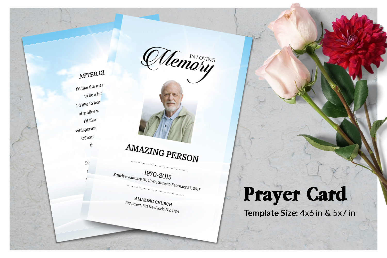 Sky Funeral Prayer Card Template example image 1
