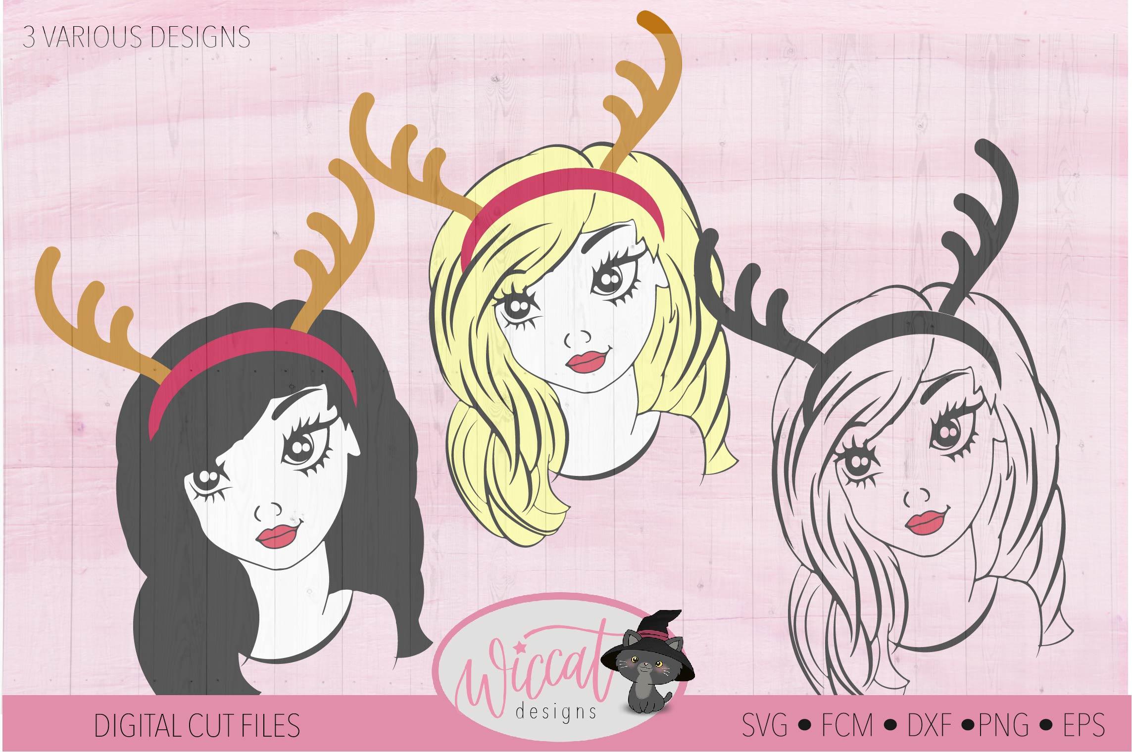 Reindeer girl svg, teen svg, Antlers svg, Christmas, girl example image 3