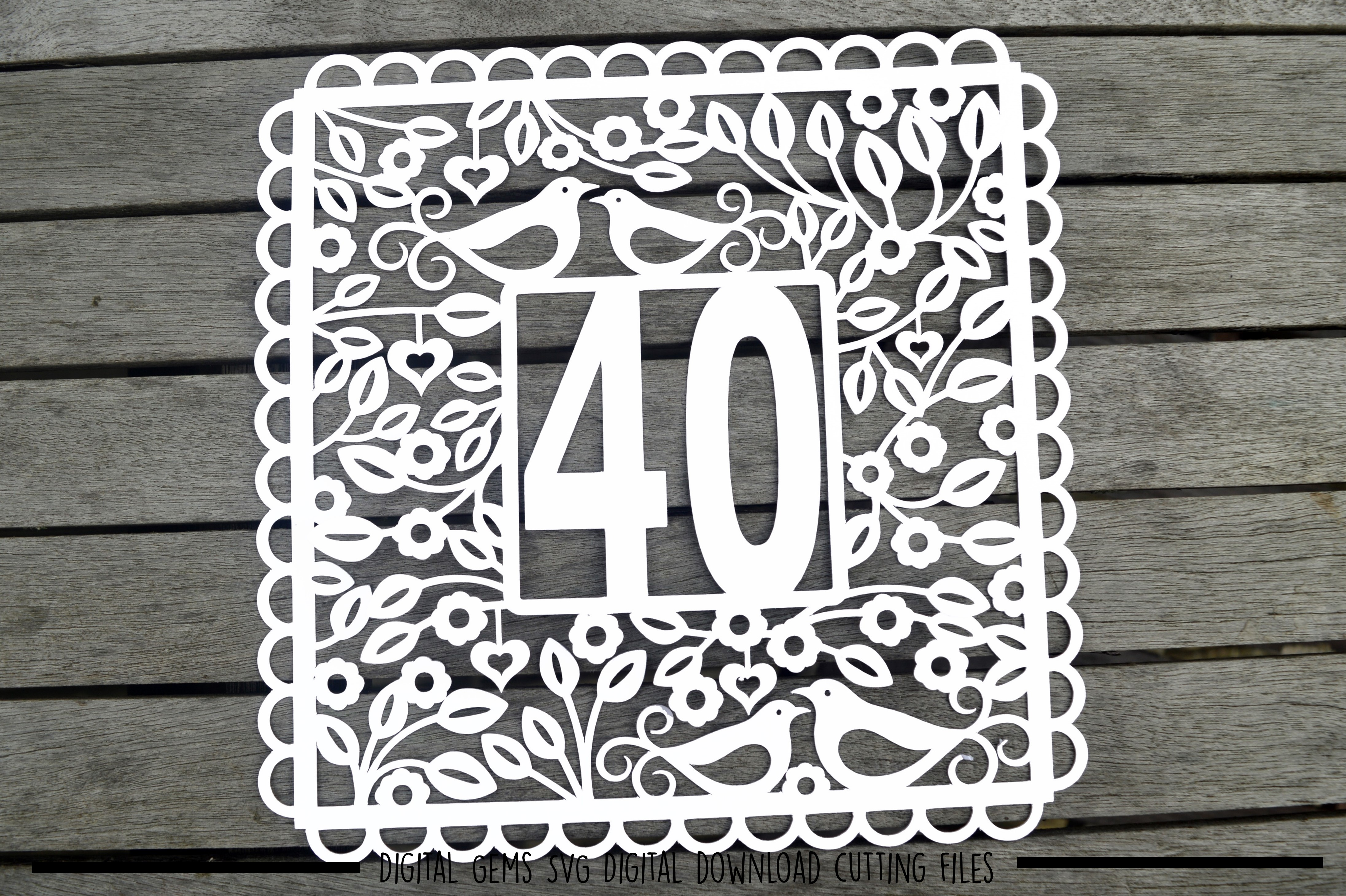 Number 40 paper cut SVG / DXF / EPS files example image 2