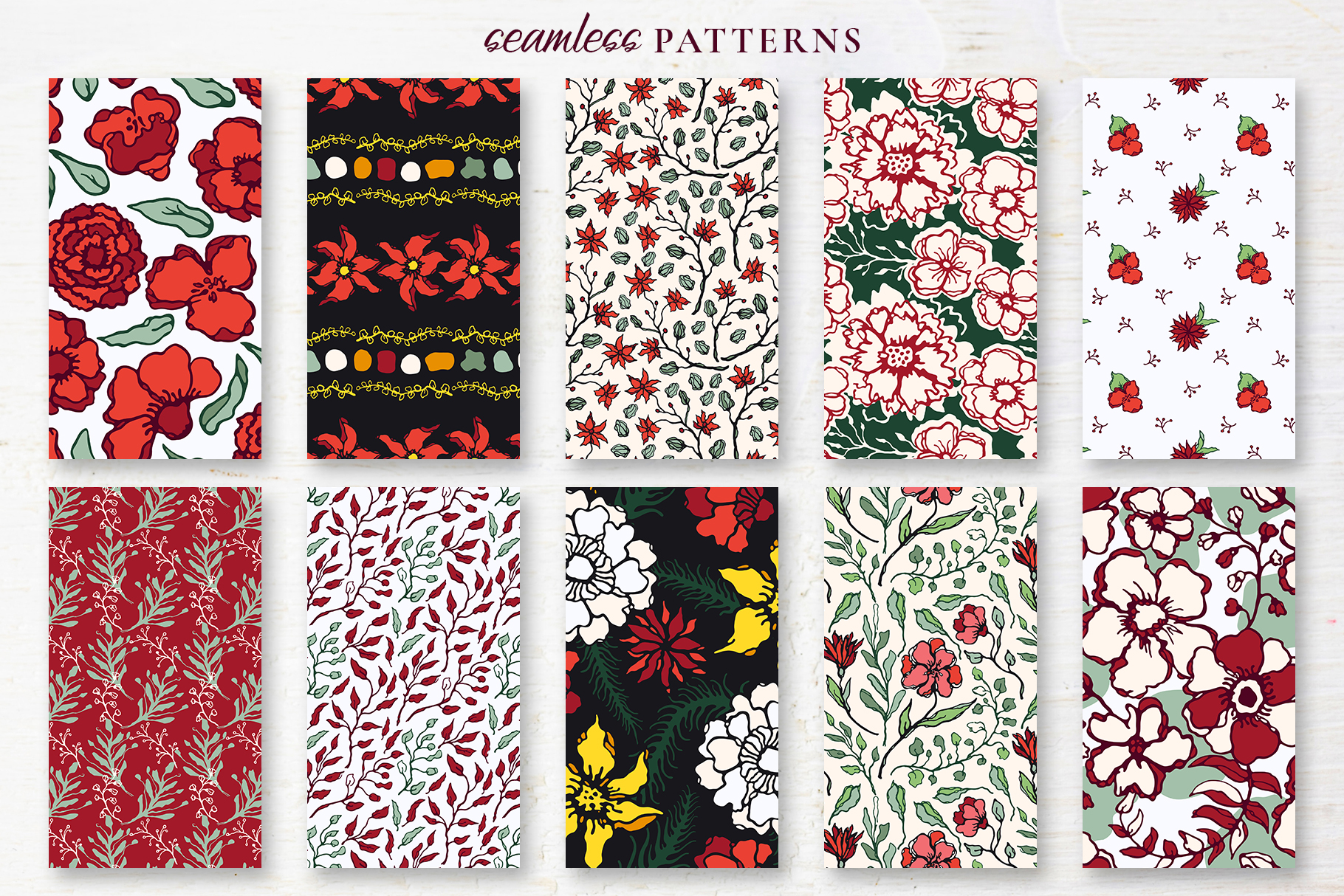 Winter Floral Patterns & Illustrations example image 17