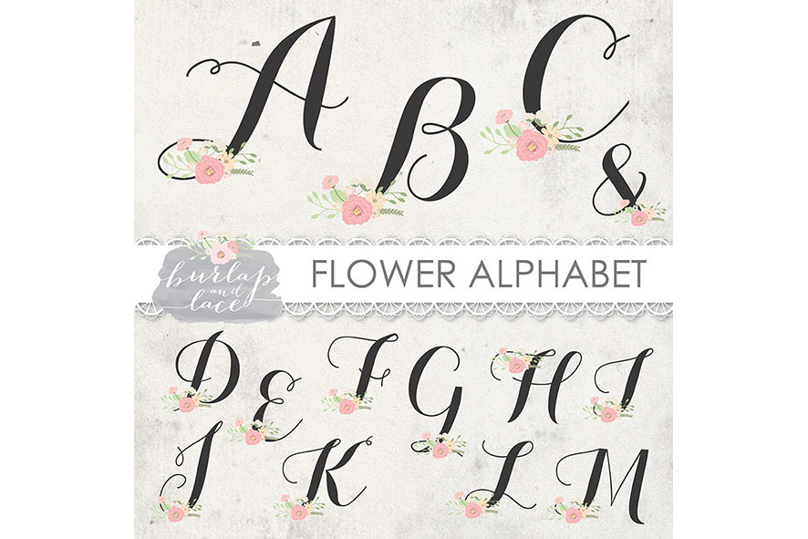 VECTOR Flower alphabet clipart example image 2