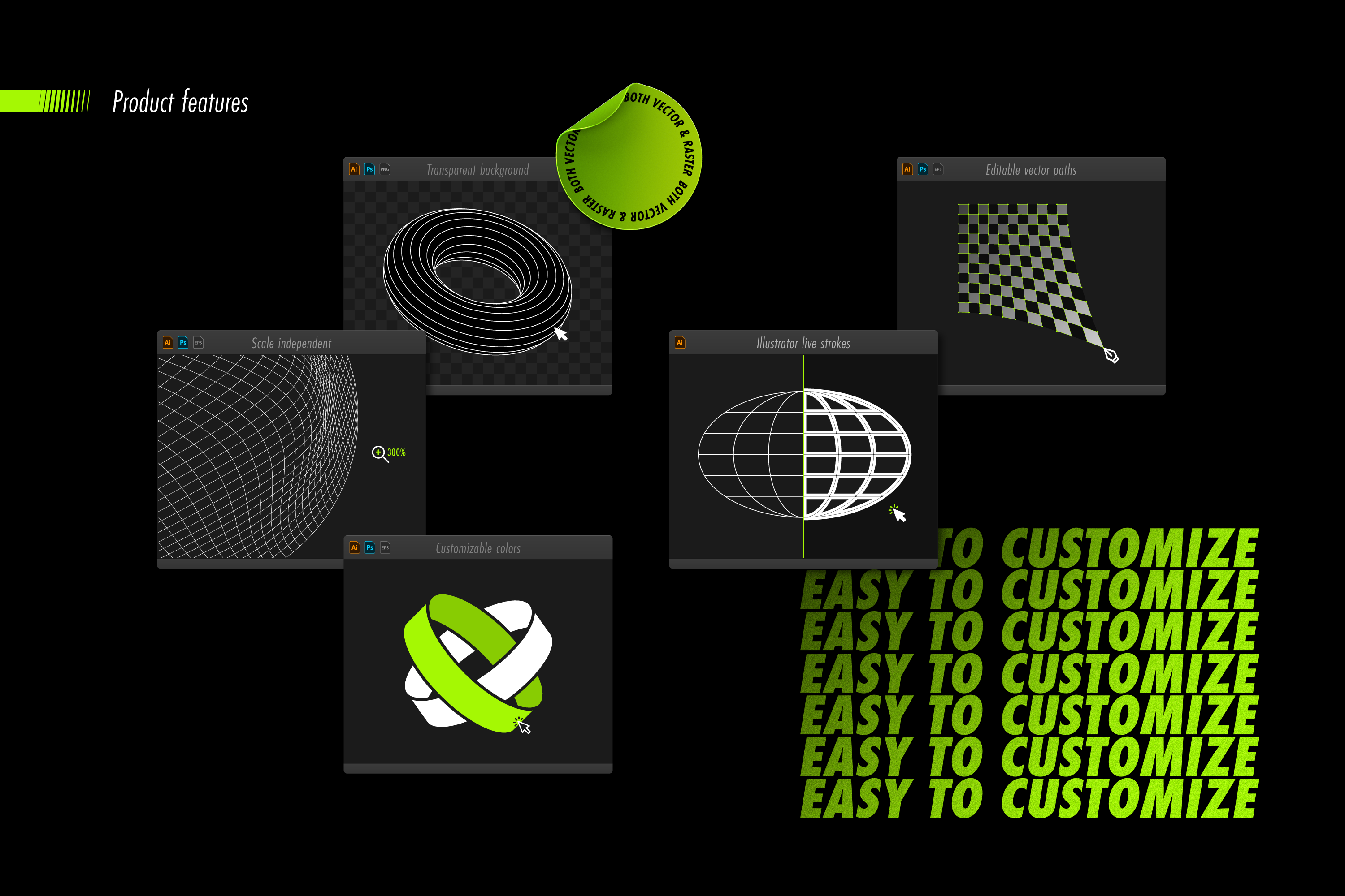 Abstract Shapes collection - 100 design elements example image 14