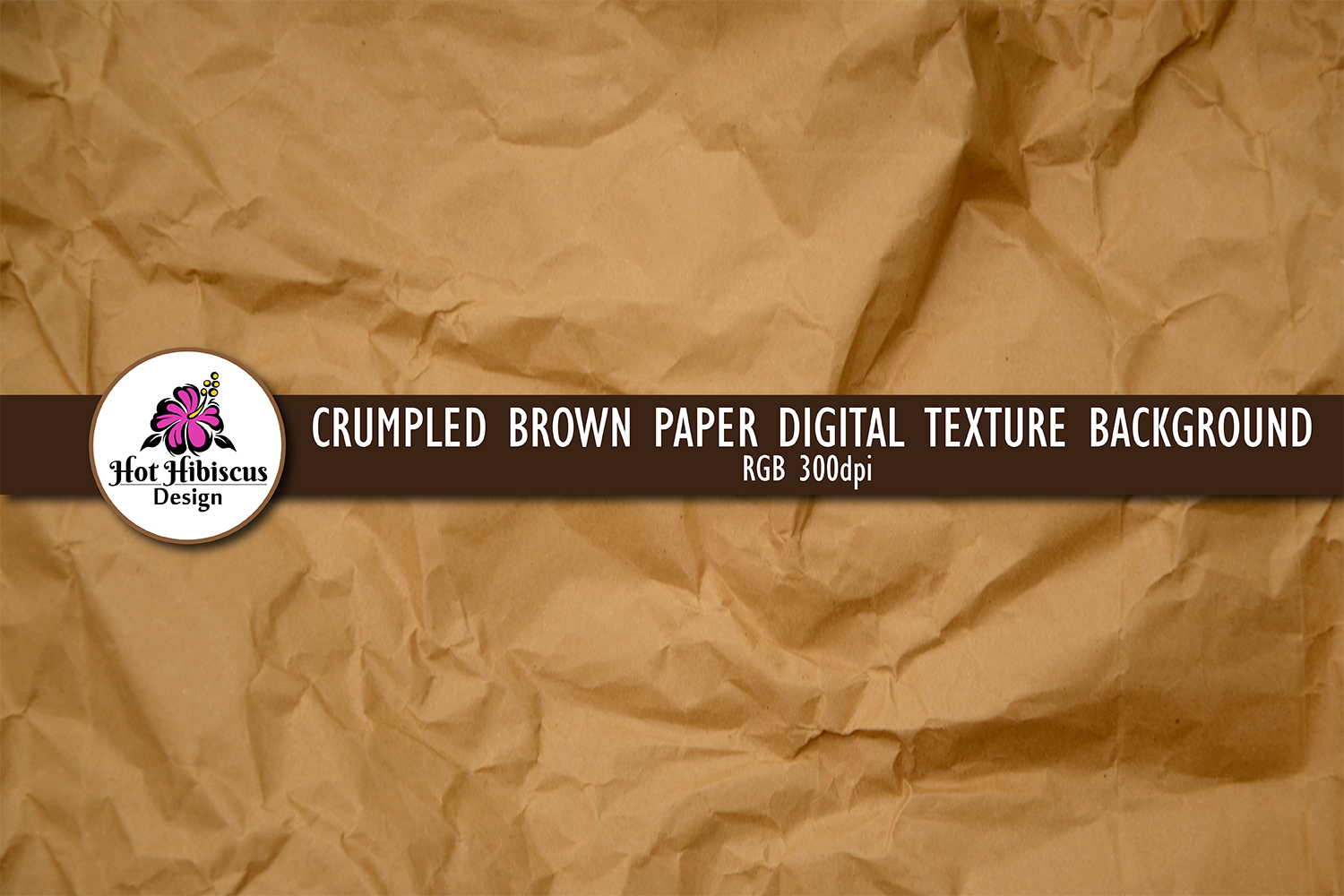 Crumpled Brown Parcel Wrapping Paper Background Texture  example image 1
