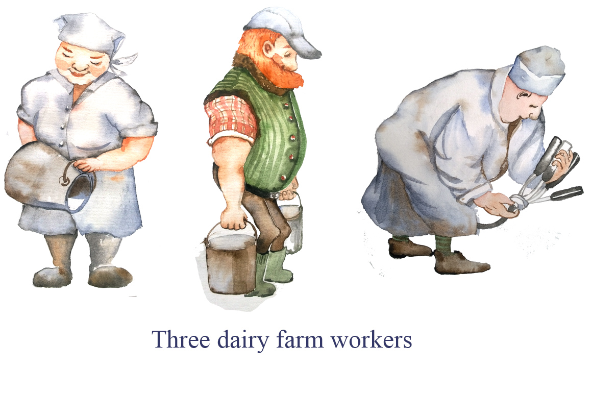 Dairy farm - set of watercolor example image 3