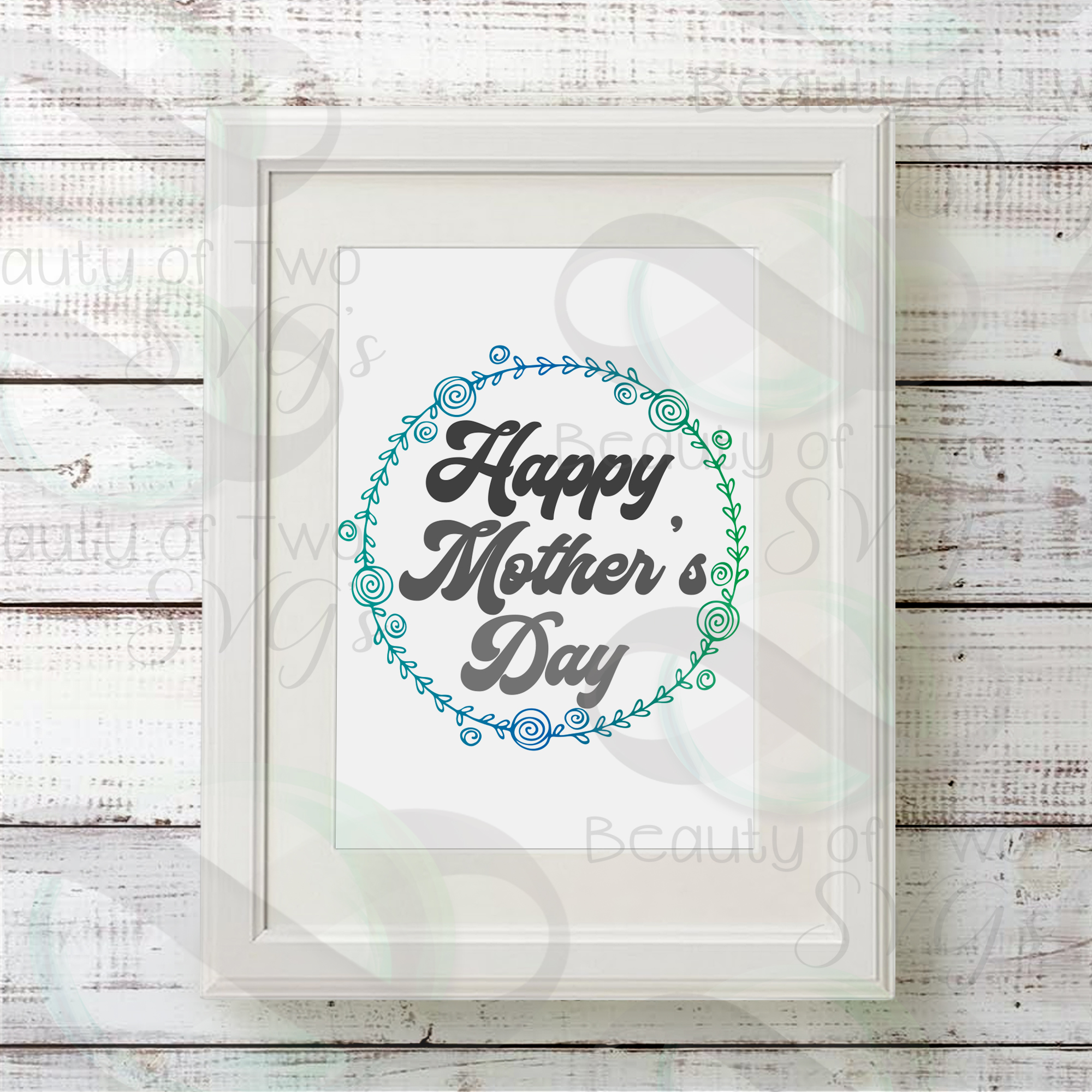 Mothers Day svg, Happy Mother's Day wreath svg, Mom svg example image 2