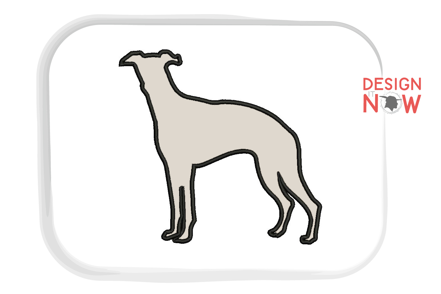 Whippet Dog Applique Design, Dog Embroidery Design example image 3