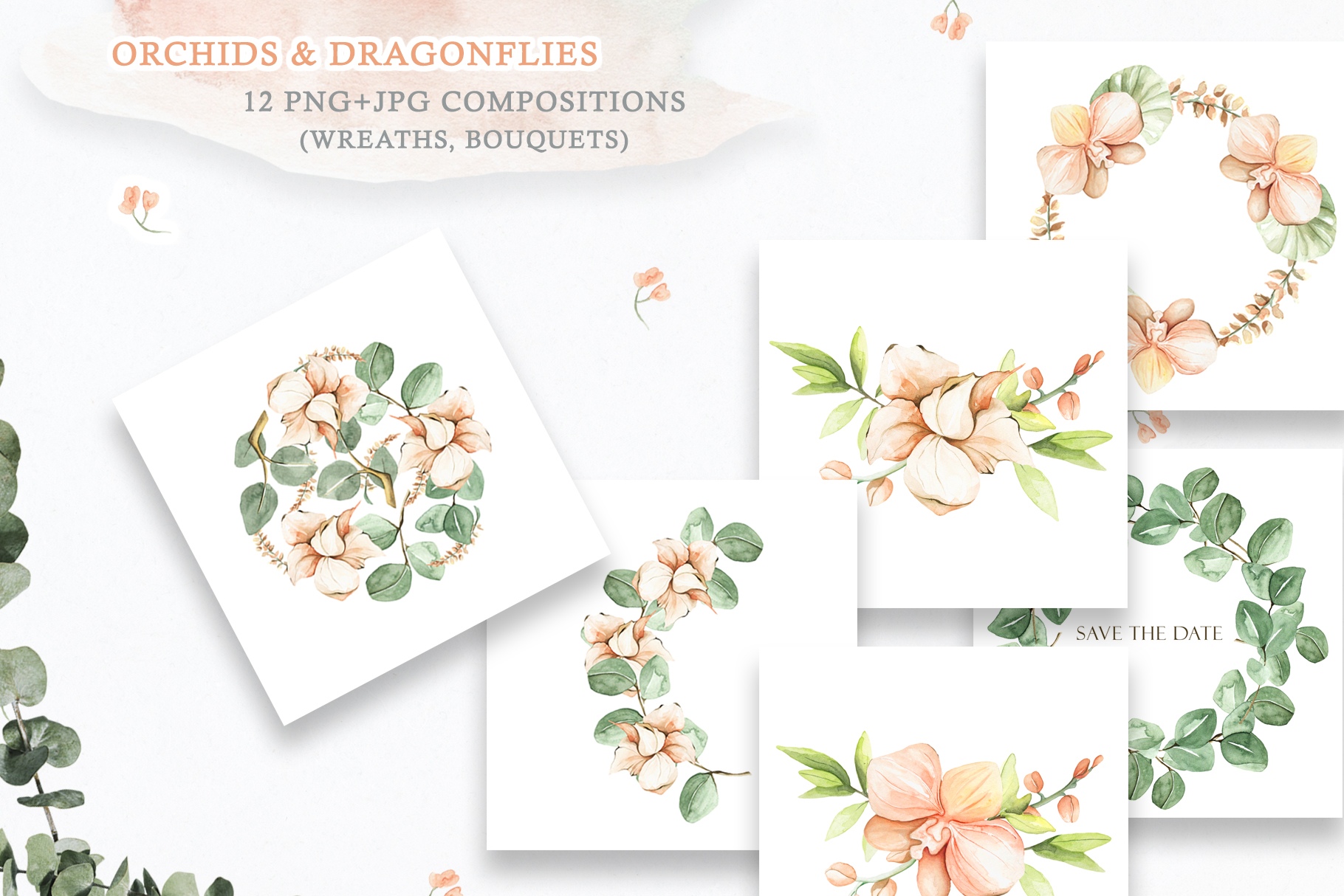 Watercolor Set Orchids and Dragonflies example image 4
