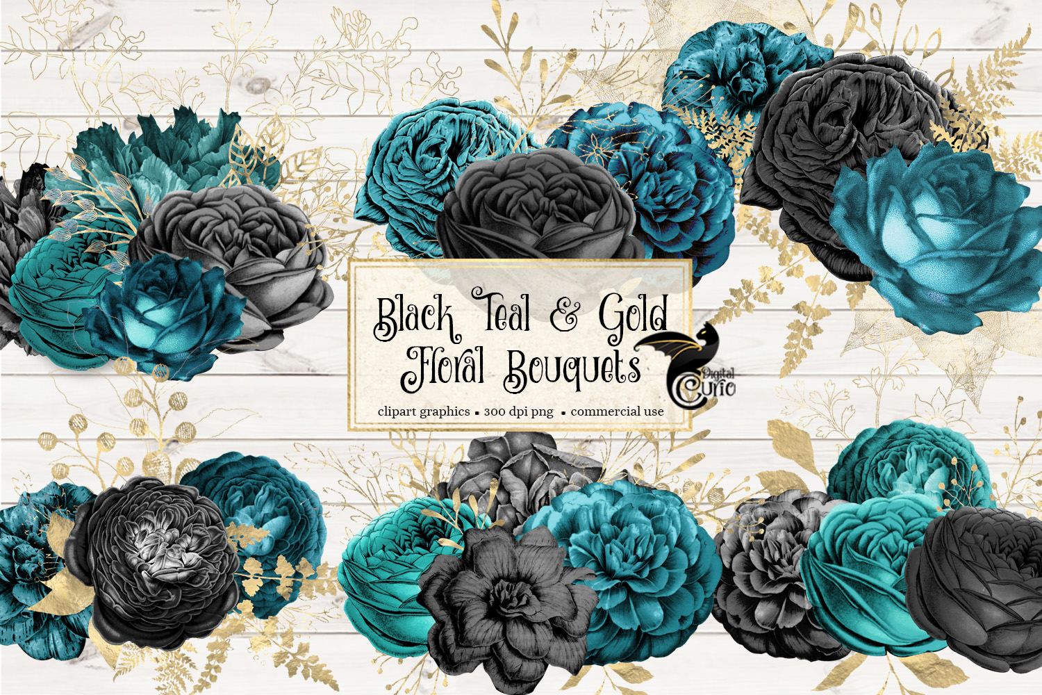 Black Teal and Gold Floral Clipart example image 2
