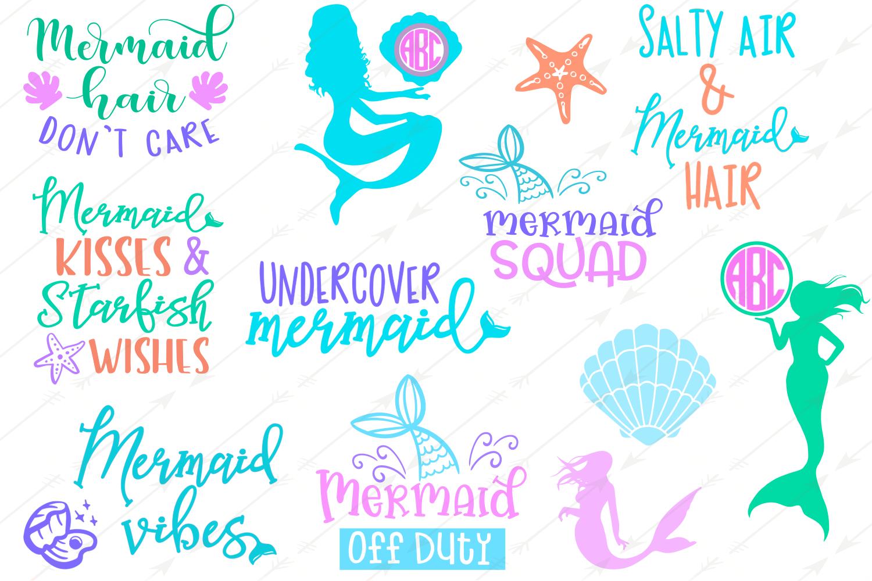 mermaid svg, mermaid party, mermaid tail svg, mermaid silhouette, svg files for cricut, mermaid decor, summer svg, monogram svg example image 2