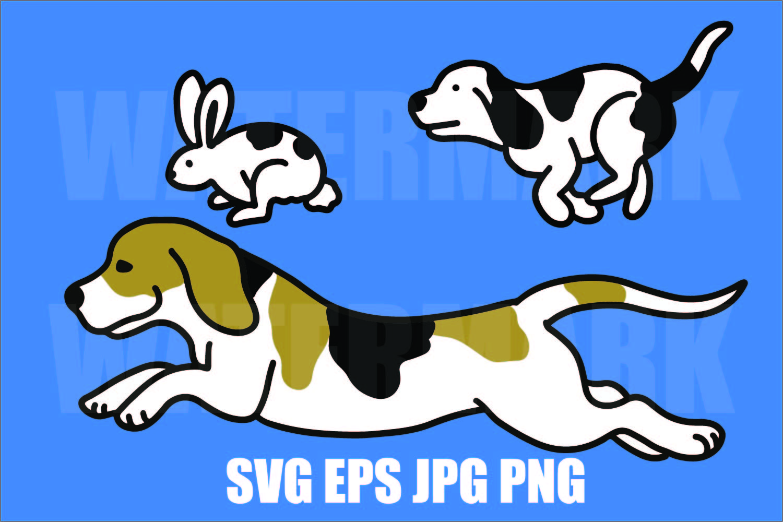 Beagle chasing rabbit - beagle running - PNG JPG SVG EPS example image 1
