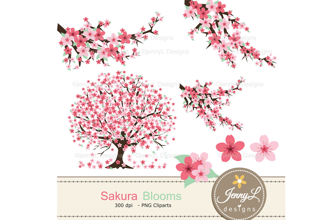 Cherry Blossoms Digital Papers and Sakura Clipart example image 2