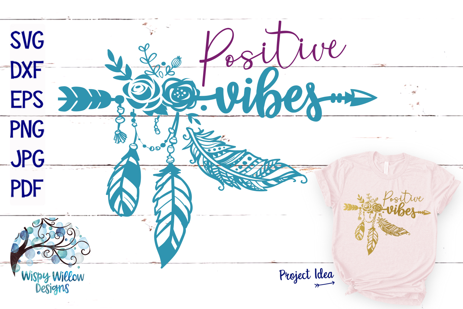 Positive Vibes SVG | Boho Feather| Hippie SVG Cut File example image 1