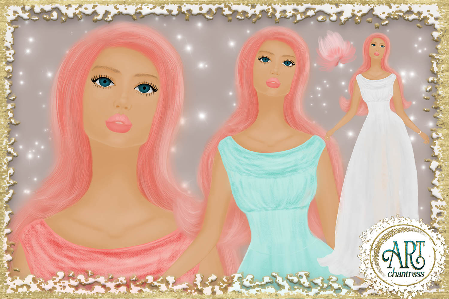Wedding party, bride clipart in white, coral and teal example image 5