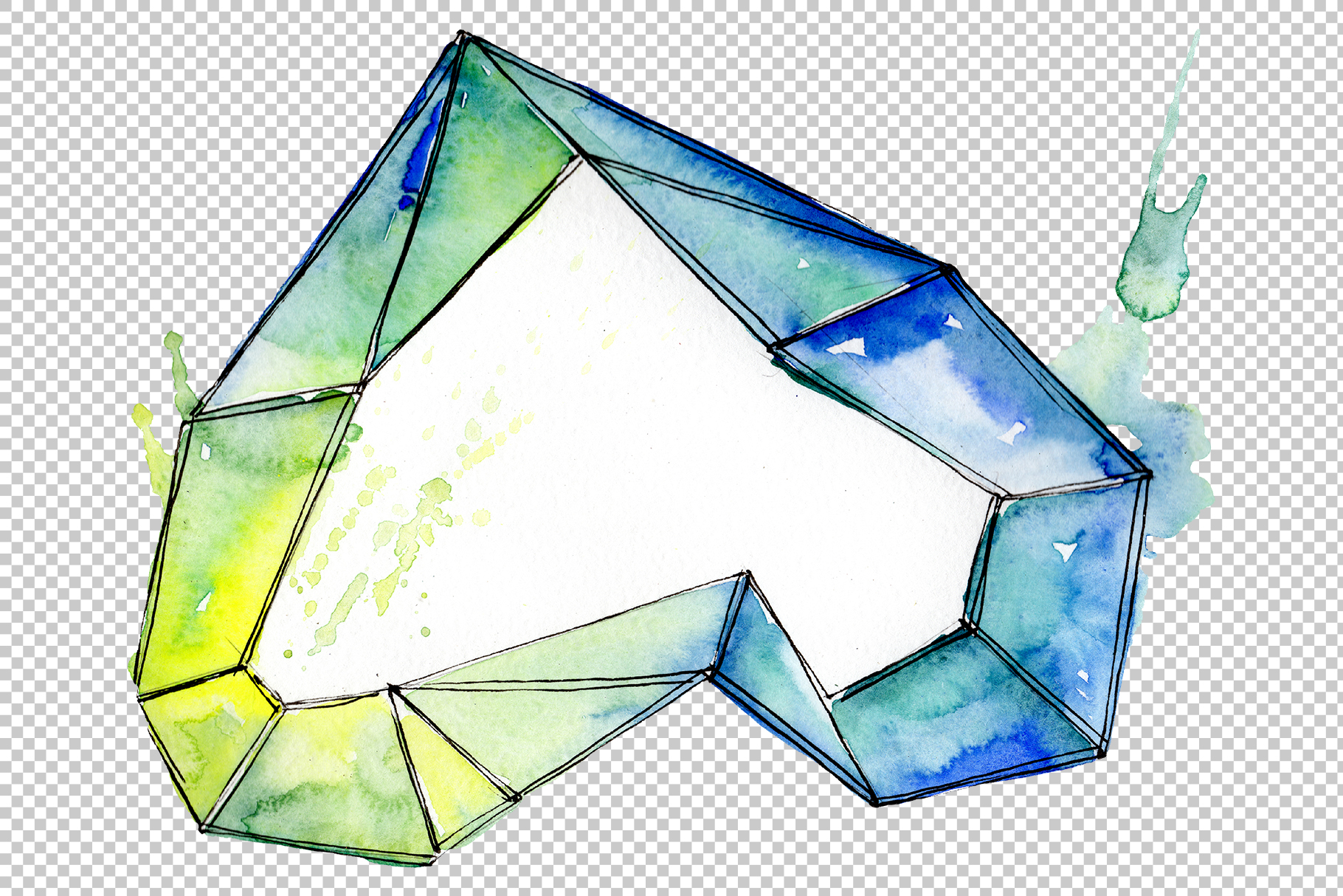 Aquamarine crystals Watercolor png example image 5