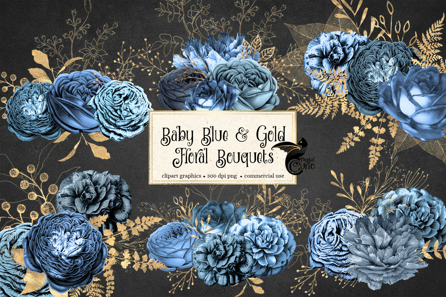 Baby Blue and Gold Floral Clipart example image 2