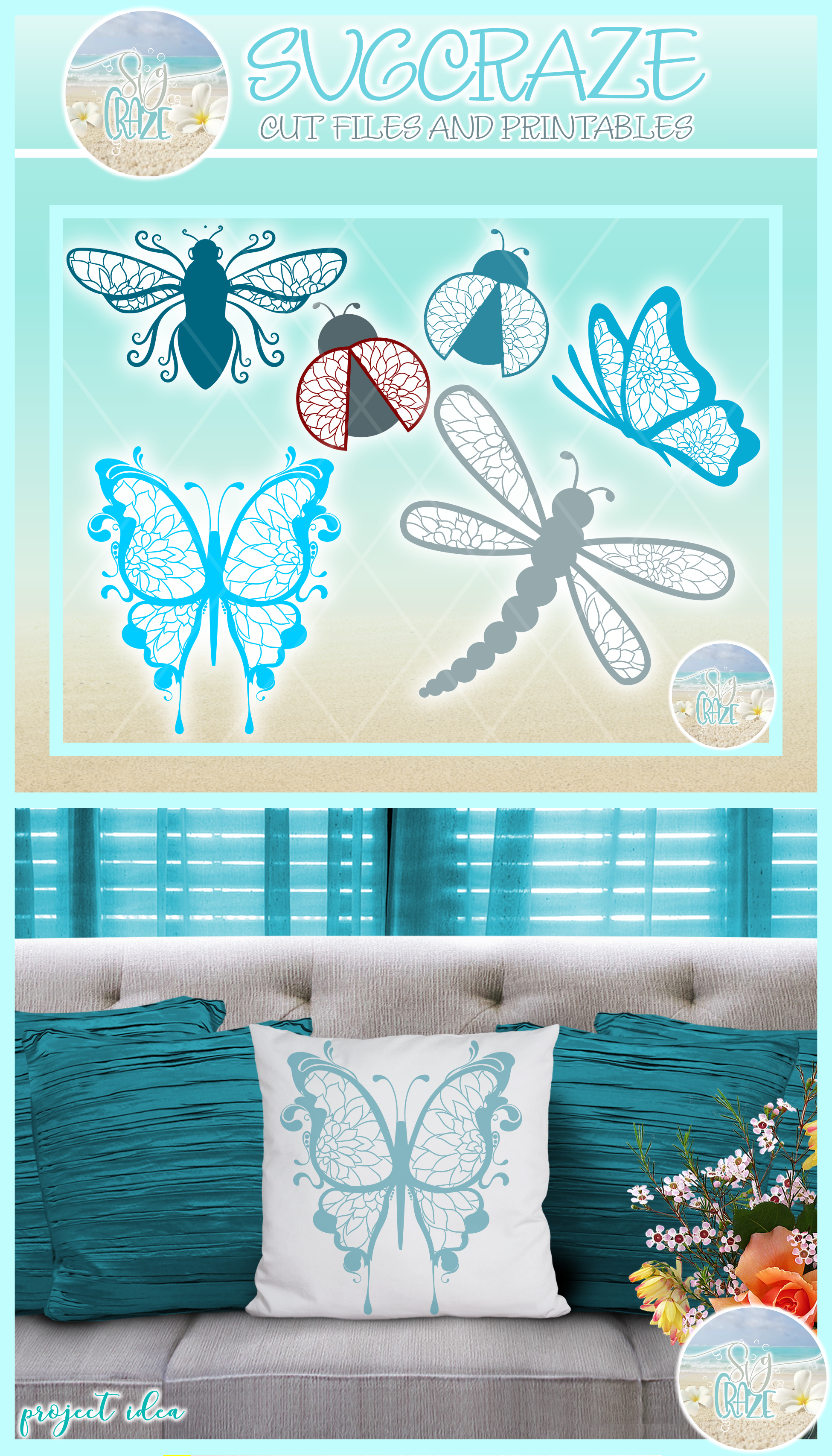 Flying Insect Mandala Zentangle Bundle Svg Dxf Eps Png Pdf F example image 4