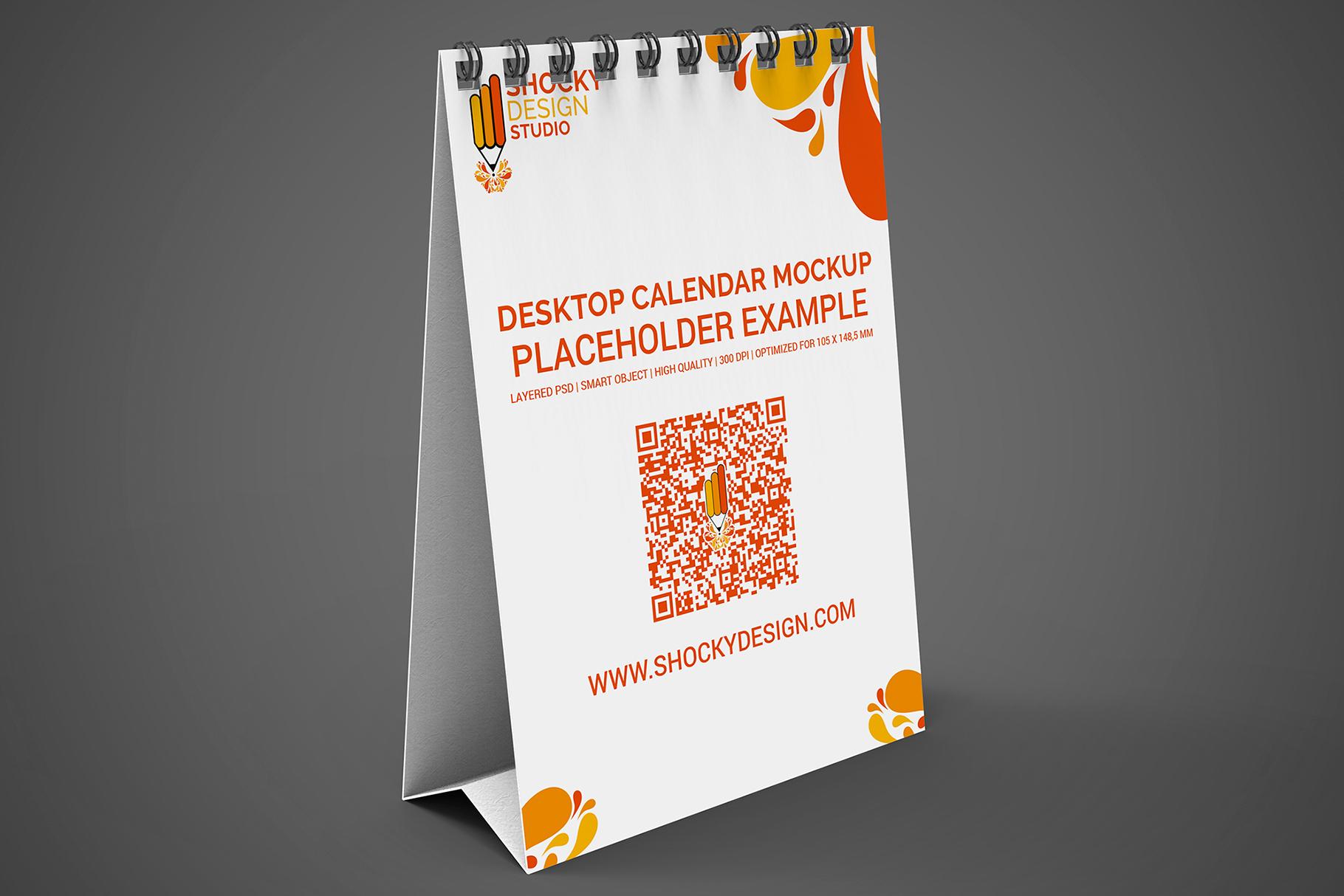 Desktop Calendar A6 Mockup example image 6