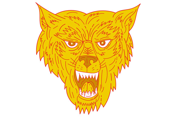 Angry Wolf Head Mono Line example image 1