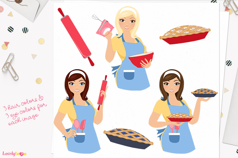Woman baking character clip art L179 Willow example image 1