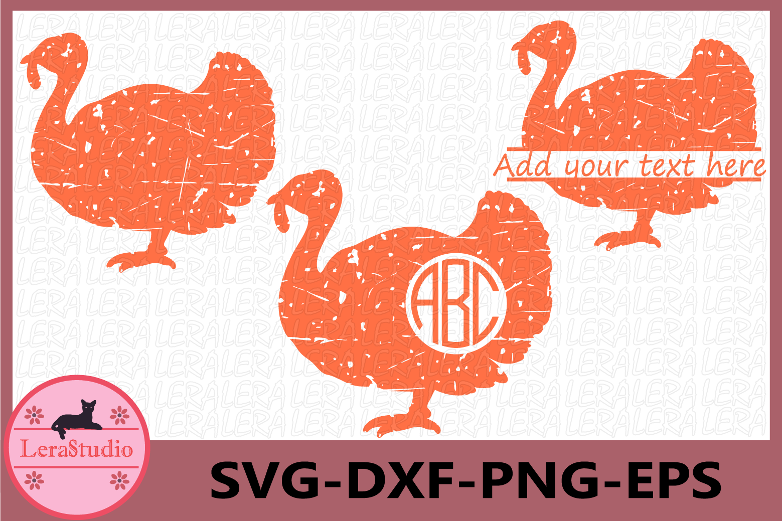 Turkey Grunge SVG, Thanksgiving svg, Distressed Svg example image 1