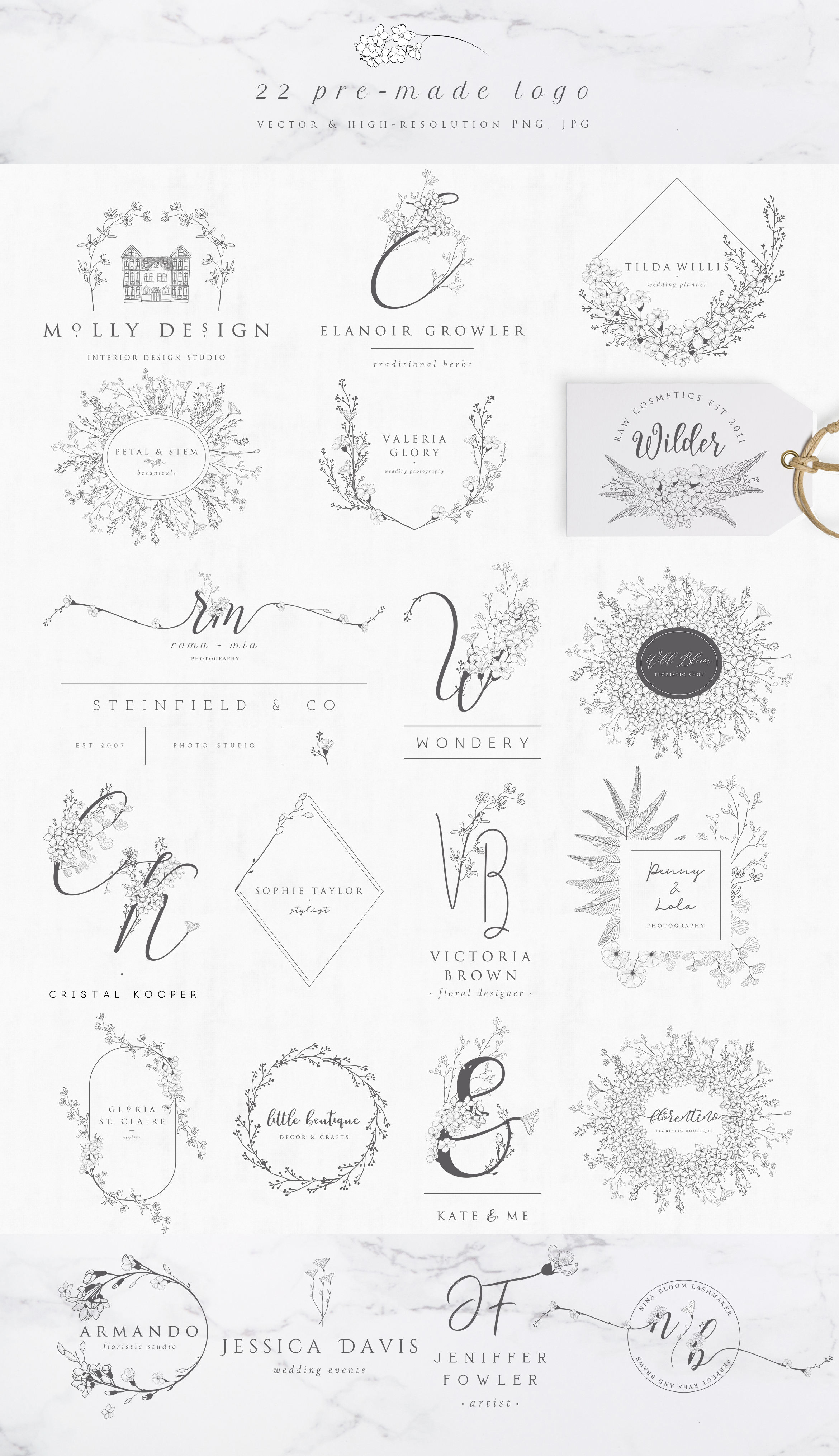 Flowered Monograms & Logo Collection example image 6