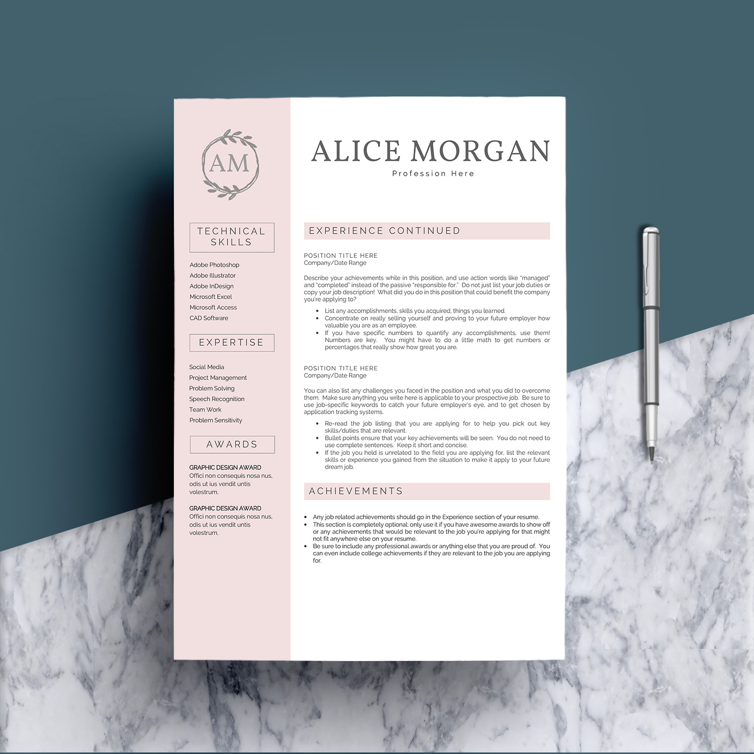 Professional Creative Resume Template - Alice Morgan example image 3