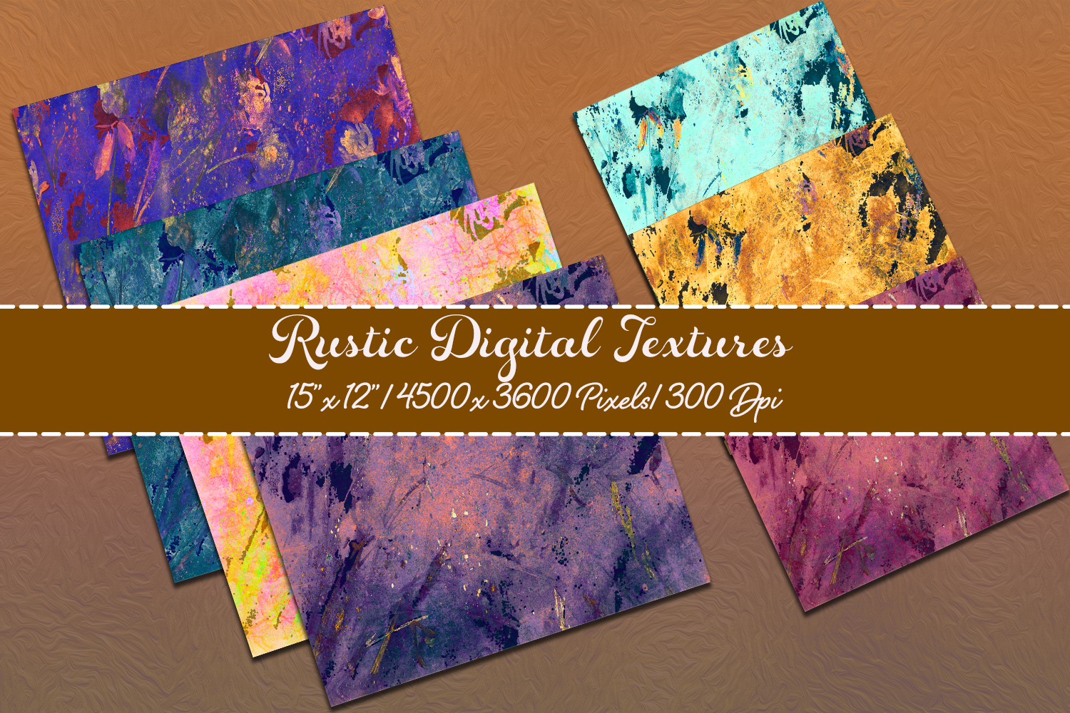 Rustic Digital scrapbook paper pack. Abstract grunge styles. example image 2