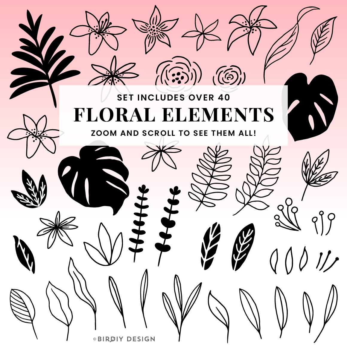 Doodle Abstract Floral Pattern Design Kit example image 5