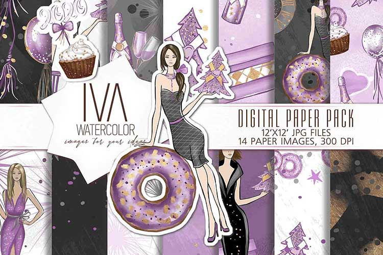 New Year's Eve Digital Paper Pack, Fashion Illustration example image 1