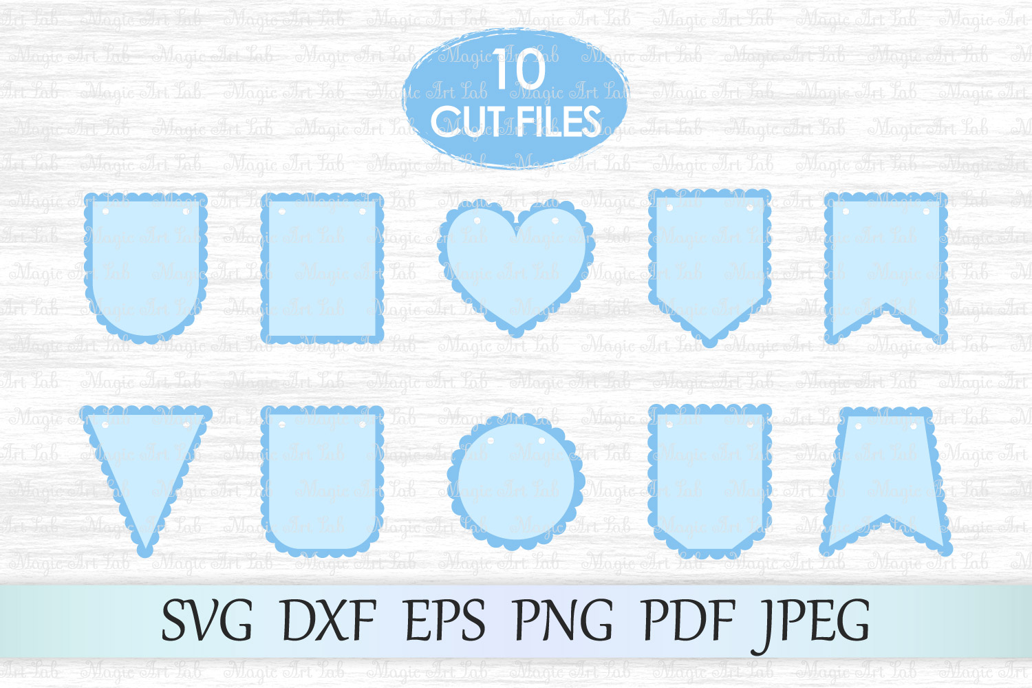 Scalloped banners svg, Bunting banners svg, Banners cut file example image 1