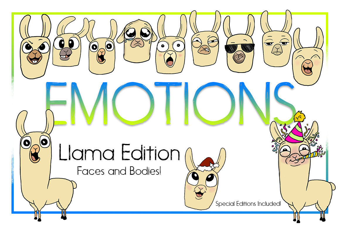 Emotional Llama Faces and Bodies | Emotional llama Bundle example image 1