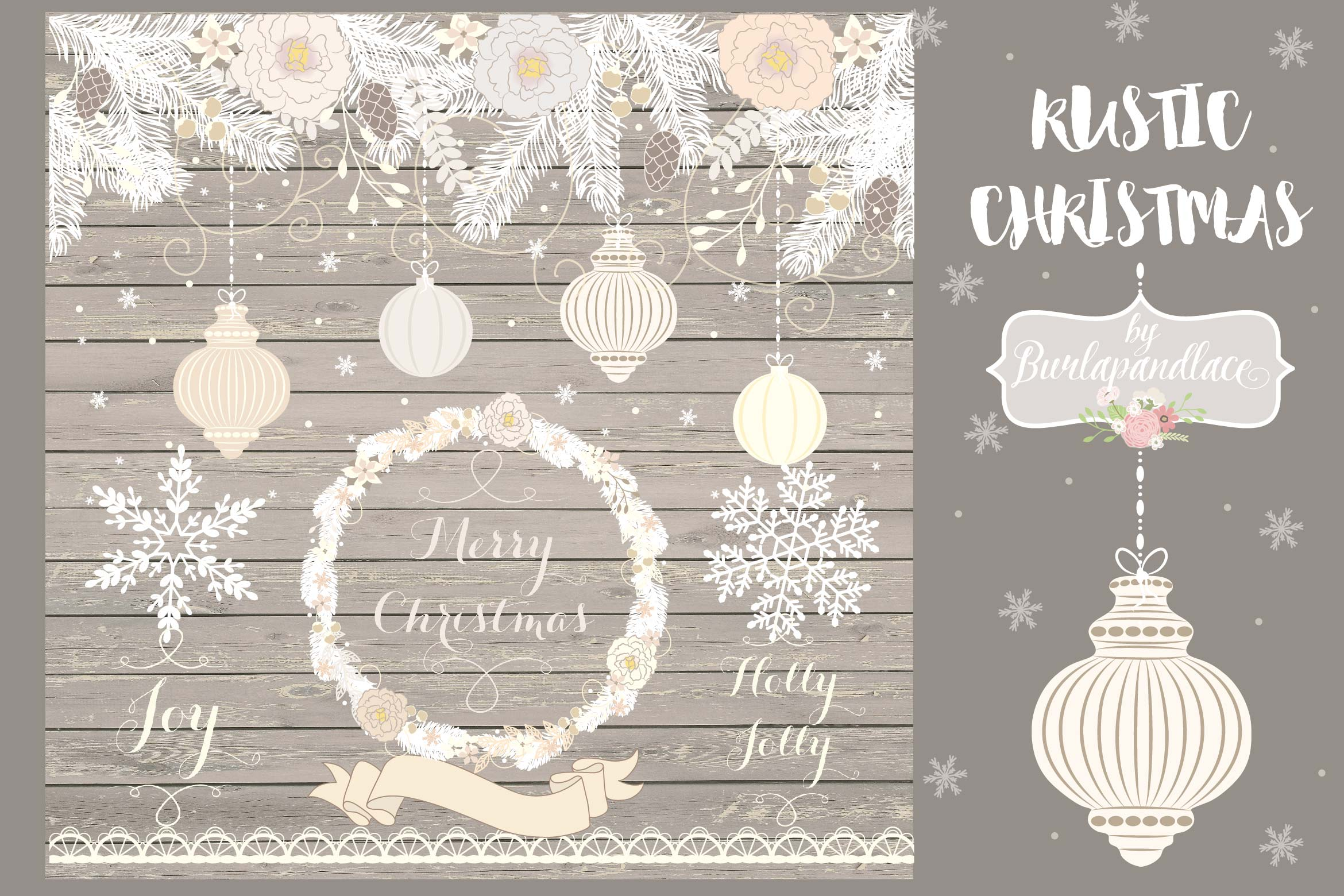 Vintage rustic floral christmas design example image 1